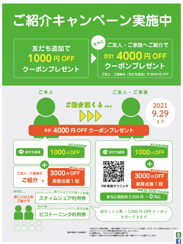 KMクリニック、友達紹介キャンペーン